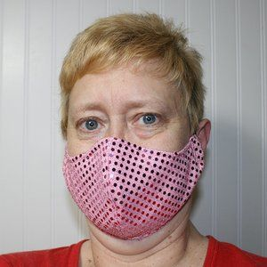 HANDMADE Baby Pink Sequin Fabric Face Mask Shield